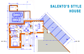 Salento masseria house features, this villa solution features a living room, dining room, and a family room. The dining area has access to a covered terrace. Two bedrooms, the master bedroom has a full bathroom. Two bathrooms, the bathroom can be done with dual sinks, a soaking tub, and a separate shower. Throughout the home is 40 x 40 ceramic tile, parquet or Italian marble in foyer, the family room, and kitchen. Italian Volta finish on ceilings. Puglia's panel doors. Garage for two vehicles, Pool external terrace and VIP finished details