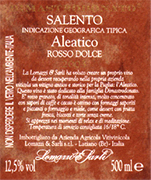 Aleatico Sweet Red Wine Alcohol 13,00% vol. Total alcohol 17% Total acidity 5,10 g/l pH 3,65  Excellent with spicy cheese, as a dessert with fresh fruit, cookies and creamless cakes. Much appreciated during relaxed moments and for meditation. Lomazzi & Sarli wished to create their own dessert wine by adding an old and historic Apulian vine variety to their vineyards: Aleatico. This wine was dedicated to the Dimastrodonato family...