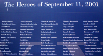 THE HEROES OF SEPTEMBER 11... On September 11, 2001, four U.S. planes hijacked by terrorists crashed into the World Trade Center (south Manhattan in New York City), the Pentagon and a field in Pennsylvania killing nearly 3,000 people in a matter of hours. Behind the staggering number of deaths are the individuals, each of whom left behind family, friends and co-workers who feel the national tragedy on a personal level...